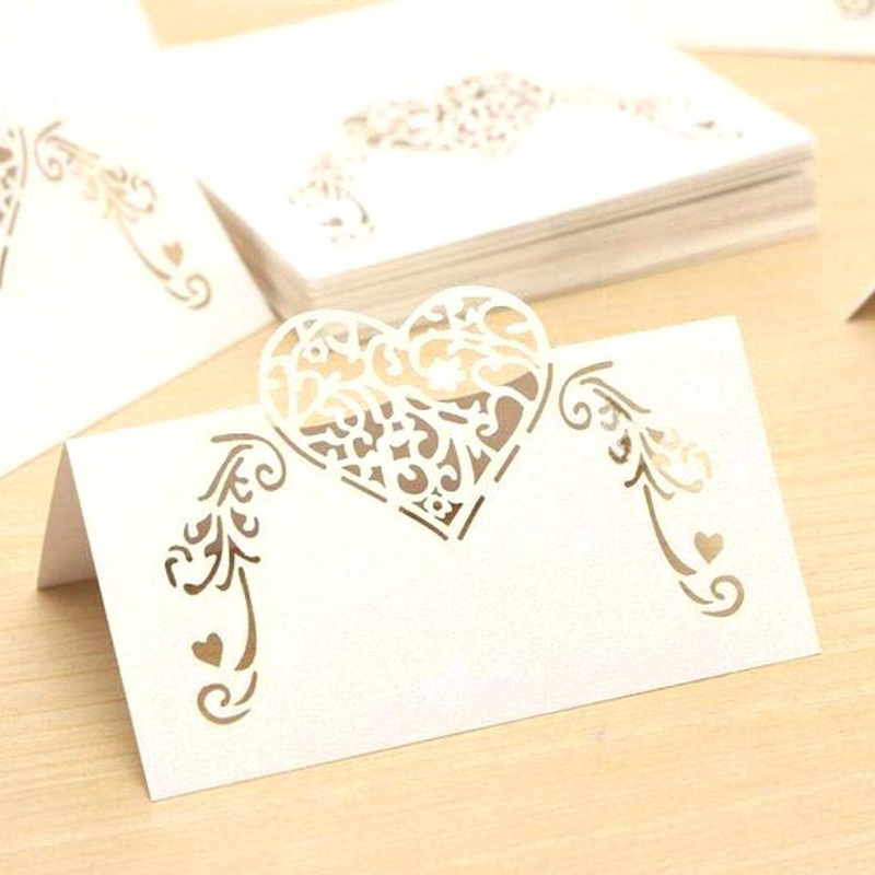 20Pcs/lot New Laser Cut White Heart Shape Table Name Card Place Card Wedding Party DIY Decoration Favor image