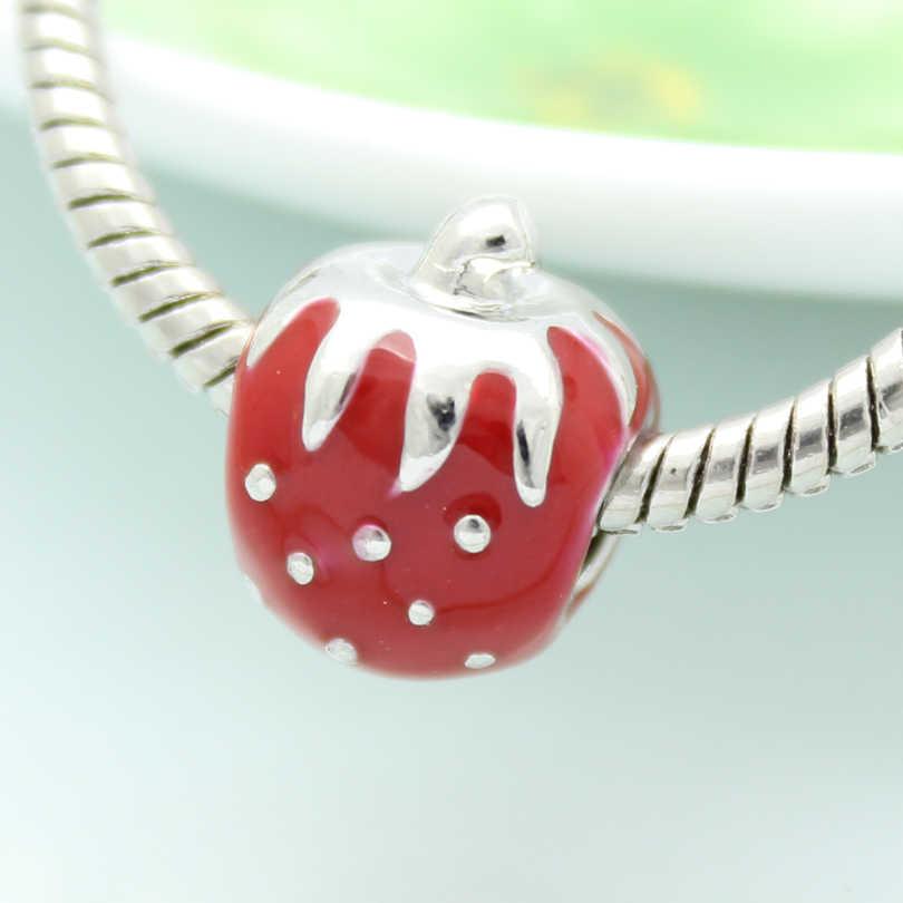 Rood emaille groenten tomaten charm kralen handgemaakte DIY sieraden accessoires amulet Fit Pandora Armband Ketting