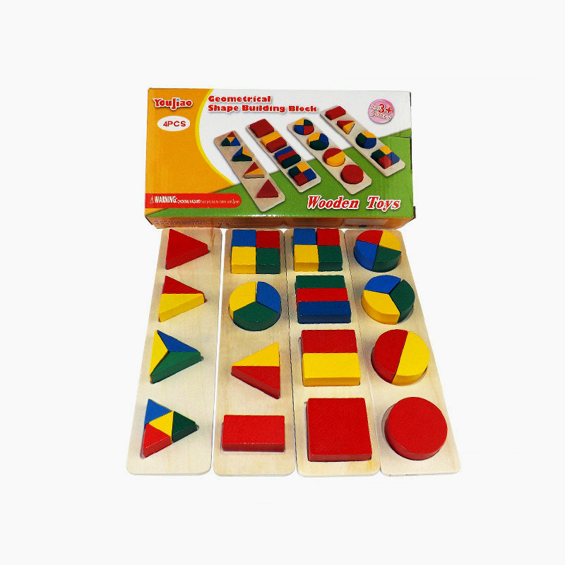 US $10 71 49% OFF|Baby Wooden geometrical shape building block, Teaching  Resources classic building blocks toy children Model Building Kits/set on