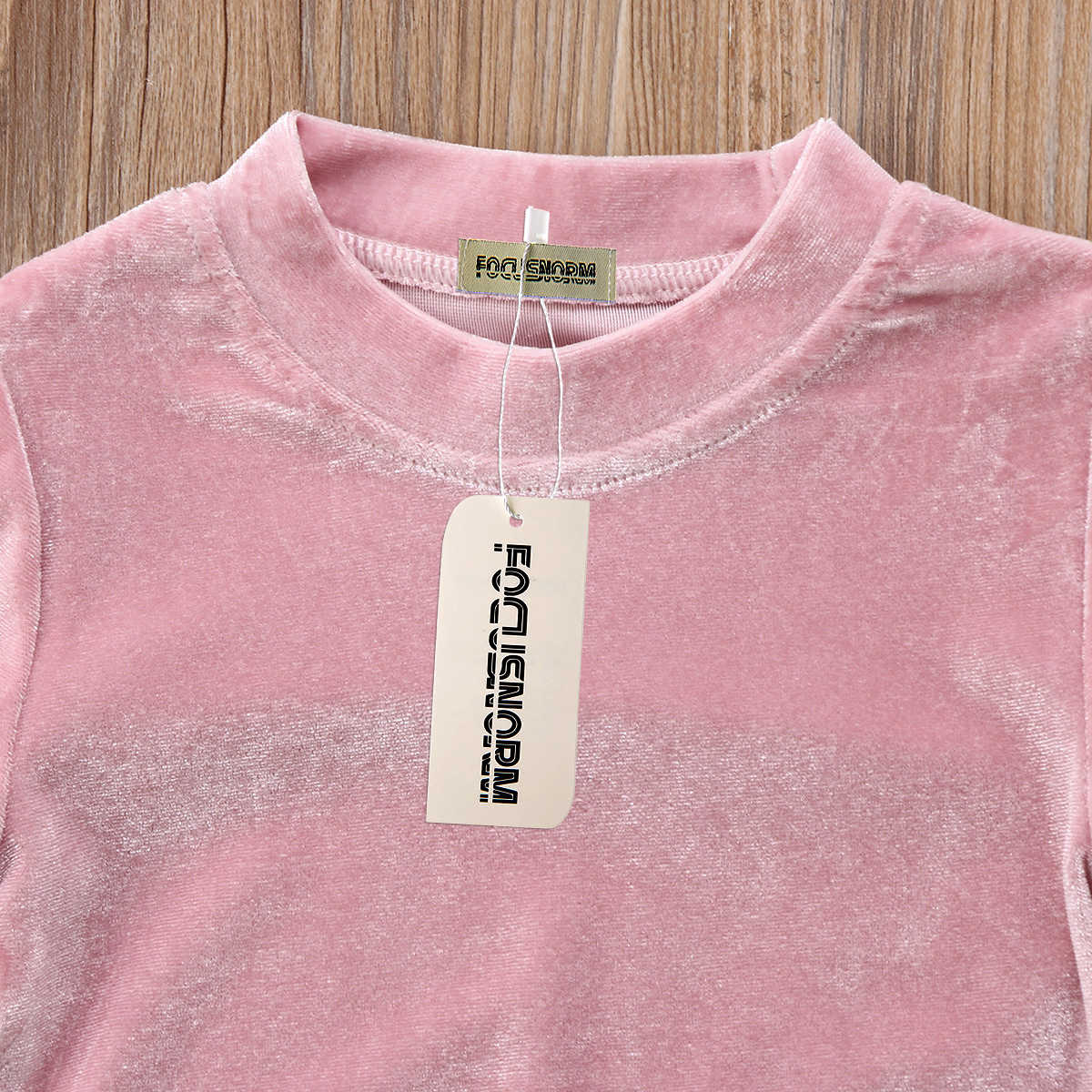 Милые Одежда для детей; малышей; девочек бархат флис Топы корректирующие рюшами футболка с длинным рукавом свитер с длинными рукавами одежда
