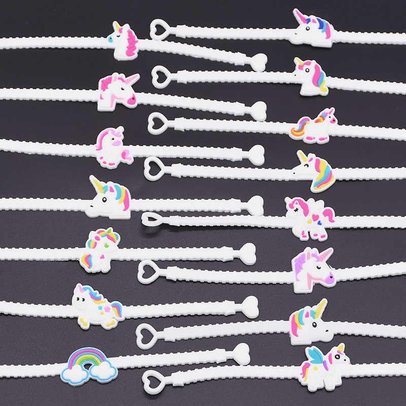 5pcs Sveglio di Modo Del Fumetto di trasporto Degli Animali Unicorn Braccialetti Braccialetti per Bambini Adulti di Favore Del Silicone Del Braccialetto Festa di Compleanno Regali di Festival