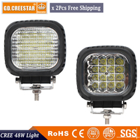 2PCS Free Shipping GDCREESTAR 48W High Power LED Work Light Spot Lamp Car Offroad ATV Square