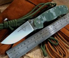 Camouflage Color Hunting Tactical Survival Folding Knife With Sand Light Surface 9CR18MOV Blade G10 Handle Camping Knives