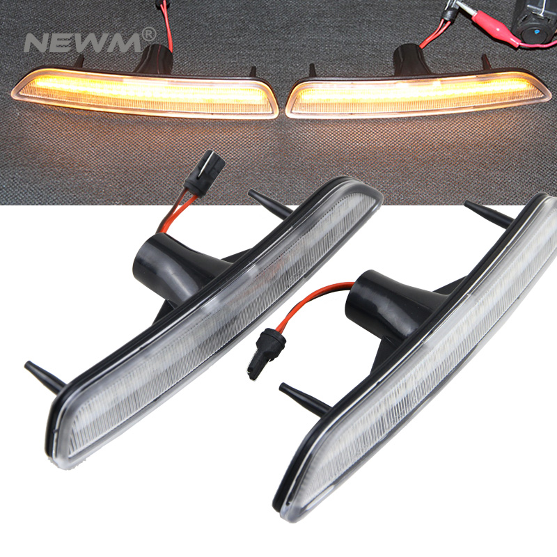 Clear Lens Front Side Marker Lamps w/ Amber LED Lights For 2010 2011 2012 2013 2014 For Ford Mustang 1pair led side maker lights for jeeep wrangler amber front fender flares parking turn lamp bulb indicator lens
