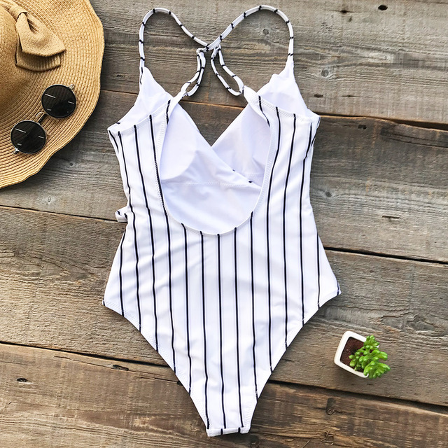 Cupshe Stay Young Stripe One-piece Swimsuit Deep V neck Summer Sexy Backless Bikini Set Ladies Beach Bathing Suit Swimwear 1