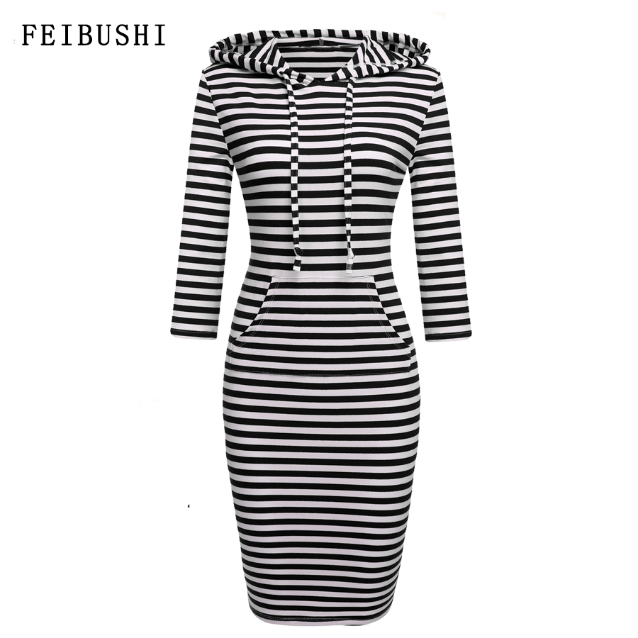 FEIBUSHI Striped Hoodies Dress Cotton Elegant Women Autumn Short Sleeve Knee Length Long Hoodies Dress Sweatshirt Plus Size