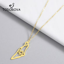 Todorova Israel Map Pendant Necklace Stainless Steel Map of Israel Necklace for Women Men Magen Star of David Jewish Jewelry(China)