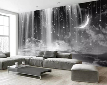 Купить с кэшбэком Beibehang Wallpaper mural hand-painted black and white waterfall starry sky TV background wall home decoration 3d wallpaper