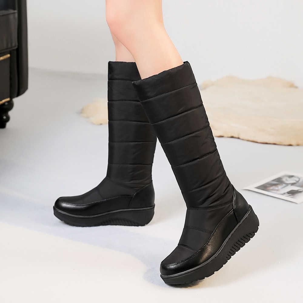 Meotina Kar Botları Kışlık Botlar Kadın Diz Yüksek Çizmeler Saçak Platform Kama Çizmeler Yuvarlak Ayak Bayanlar Uzun Ayakkabı Sıcak Kırmızı siyah 44