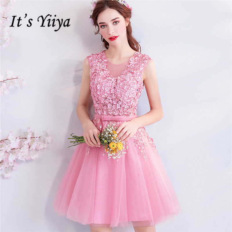 It's YiiYa Pink   Cocktail     Dresses   Bling Beading Sleevless Flower Pattern Fashion Designer Lave Up Party Short   Dress   LX853