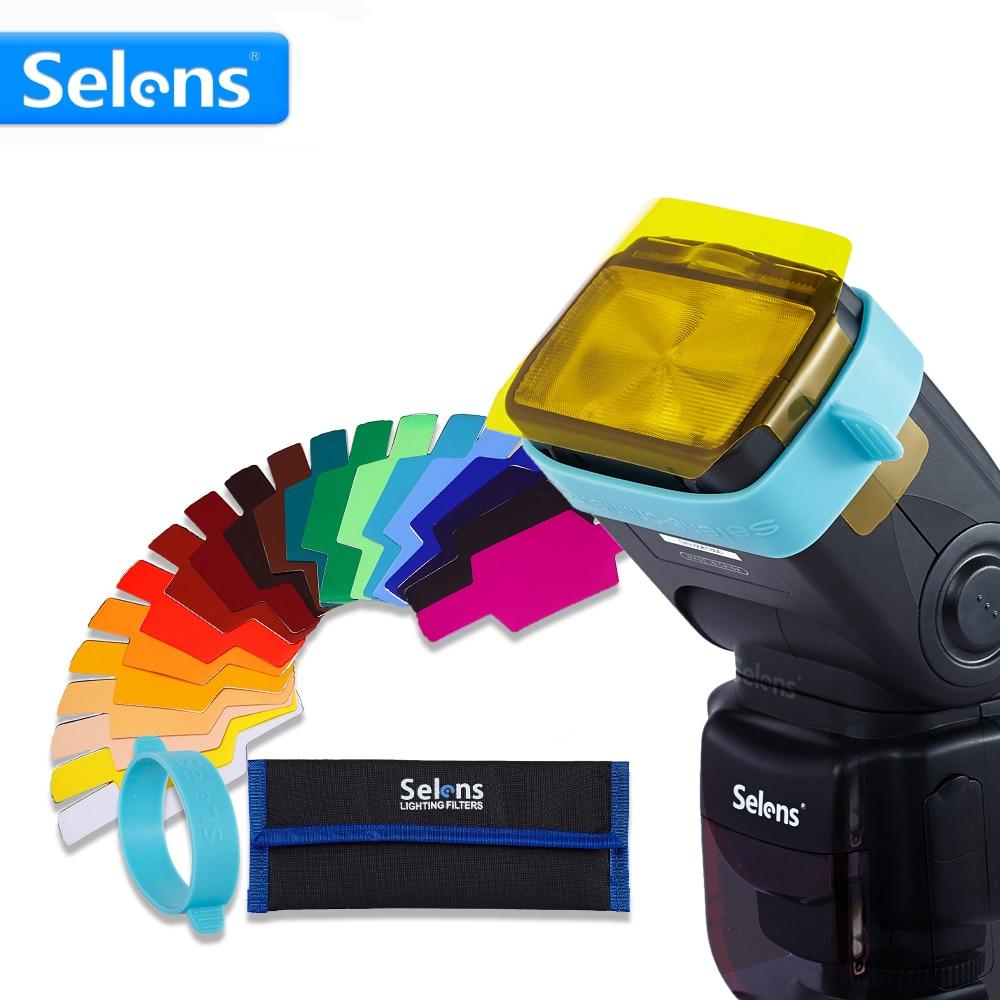 20pcs Selens SE-CG20 Flash Gel Color Filters for Metz Godox D7100 SB910 Speedlite Speedlight Flashgun Lighting Control Modifier