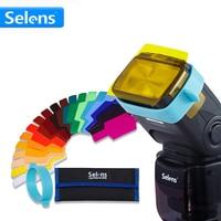 20pcs Selens SE CG20 Flash Color Gels Filter Kit For Speedlite Speedlight With Gel Band Organized