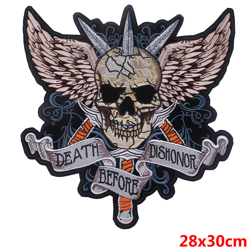 SKELETON BIKER BACK PATCH RICAMATE XL 30x22cm Biker tonaca Chopper MC SKULL