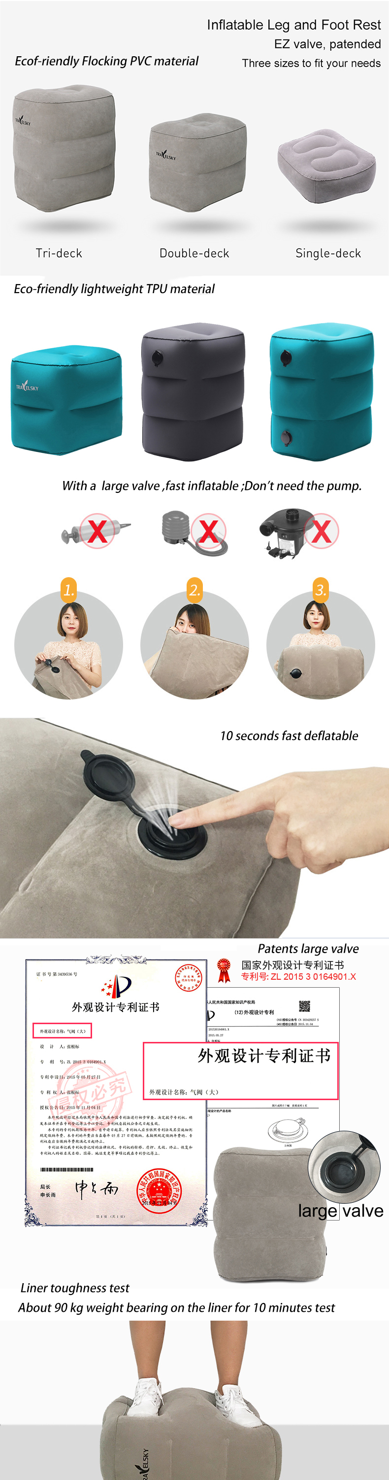 2019 Hot Sale Travel Inflatable Pillow Plane Train Foot MAT Pad Air Inflatable Large Valve Footrest Pillow 3 Layer Cushion