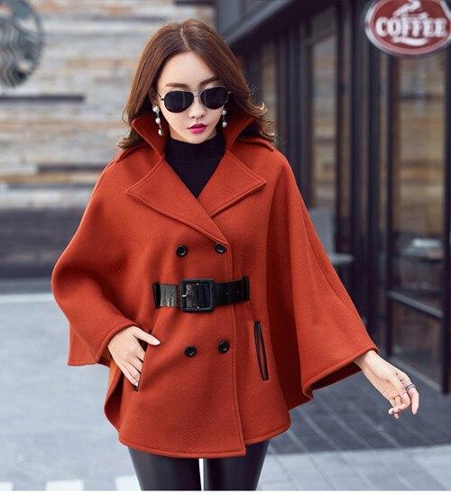 Подиумное черное пончо накидка зимнее пальто модное женское Шерстяное твидовое плотное пальто с рукавами летучая мышь с отложным воротником теплое шерстяное пальто - Цвет: Кораллово-Красный