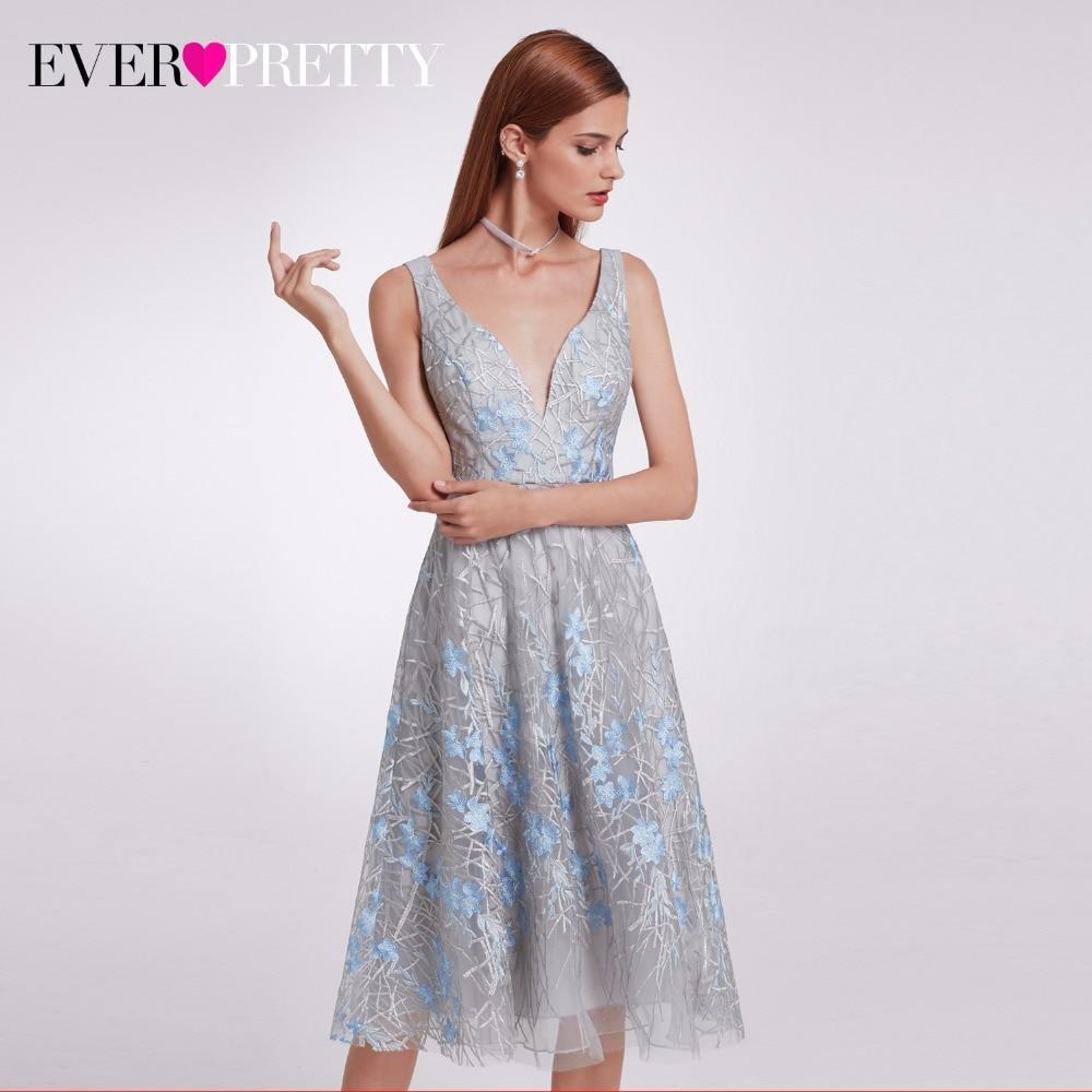 2018 New Fashion Ever Pretty EP05935 Unique Lace Prom Party Dresses Knee-Length Elegant Double V-Neck Evening Long Dresses