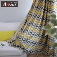 Gelbe Wellenförmige linien fenster blackout vorhänge für wohnzimmer schlafzimmer Lila streifen sheer vorhänge moderne Organza tüll + vorhänge