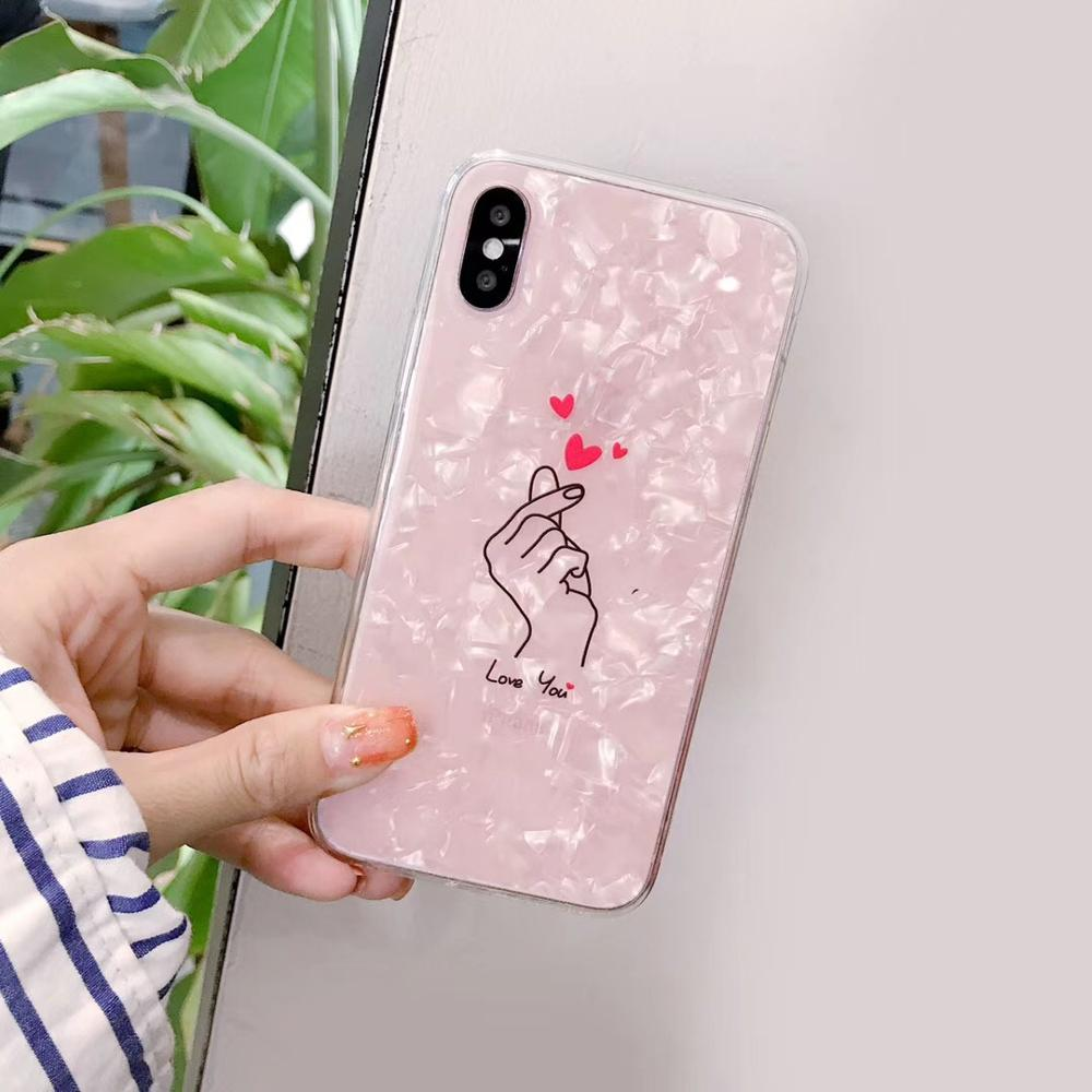Korea Shine Pearl love Phone Case For iPhoneX 8/6s 7plus INS Hot IMD Soft TPU Cover Casing Shell Protection Capa