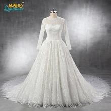 Vestido De Noiva Long sleeve Lace Wedding Dress 2016 high neck DUBAI Cathedral Long train Casamento Robe De Mariage Renda Boda