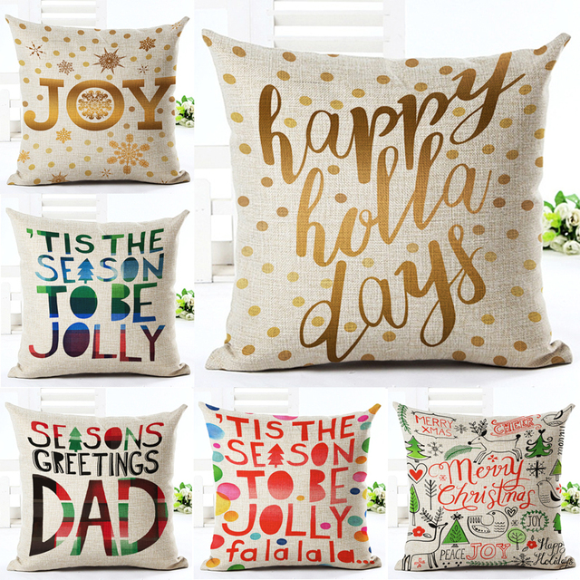 Merry Christmas Letter Joy Happy Holiday Printed Throw Pillow