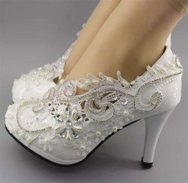 dcaadc6b4bf New White ivory crystal pumps Wedding shoes Bridal high low wedges heels  size