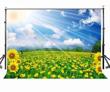 150x220cm Sunflower Blue Sky Photo Backdrop Sunlight Fantastic Nature Scene Photography Studio Props Background