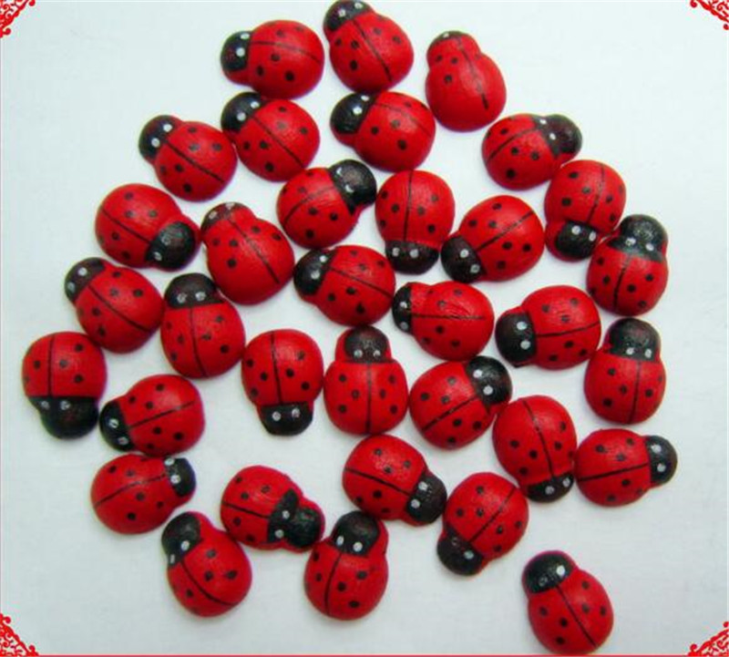 20pcs Big 18*25mm Miniature Wooden Craft Garden Red Landscape Ladybug Decoration Wooden Diy And Crafts Wood Ornaments