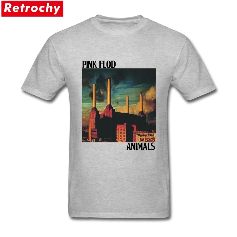 Desain t shirt elegan - Elegan Pria Vintage Pink Floyd Hewan T Shirt Lengan Pendek Cotton British Rock Band Tee Album