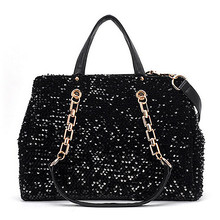 2016 new Fashion Women Leopard  Patchwork Shoulder Bags in Vintage and the Sequins Lady Purses Chain Strap Crossbody Bag