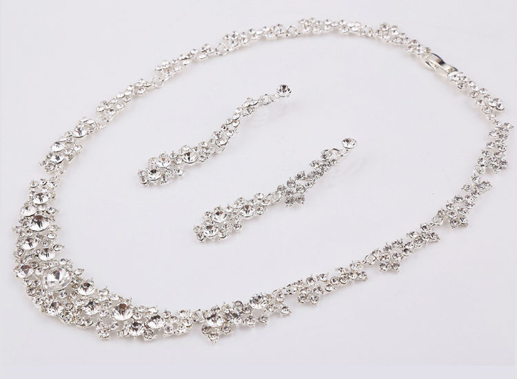 Silver Crystal Wedding Bridal Bridesmaid Jewelry Sets Alloy Necklace Earrings Crown Jewelrys For Women Hot Sale (4)