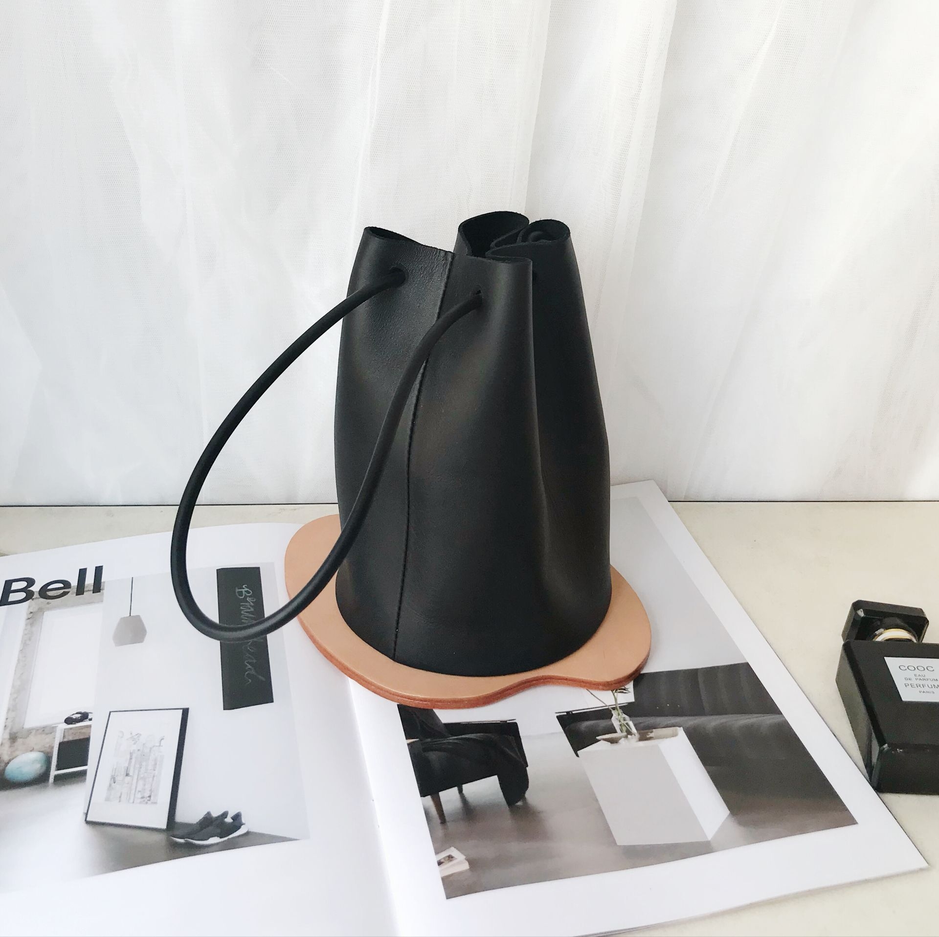 Top Quality Soft Bucket Bag Women Genuine Leather Shoulder Bag Lady Real Leather Female Casual Tote String Mini Handbags