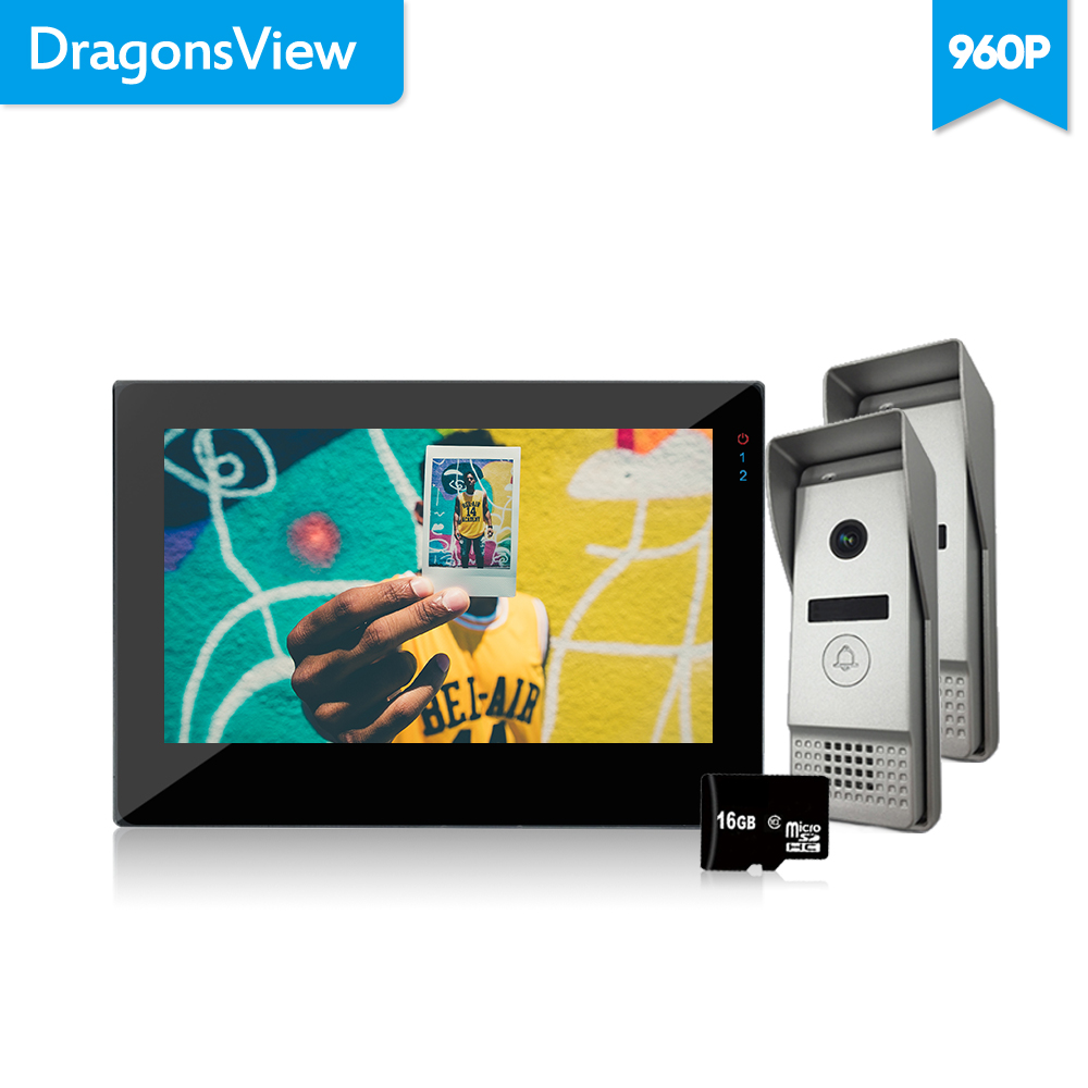 """Dragonsview Wired Intercom 7""""Color LCD Video Door Phone System Doorbell Camera IR Motion Recording 960P AHD Rainproof Wide Angle"""