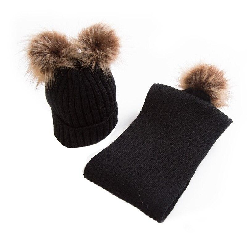 Winter Kids Double Pom Pom Hats Scarf Set Baby Child Thick Warm Knitted Fur  Hat Beanies Boys Girls Neck Warmer Pompom Cap Bonnet f31cdac15c6