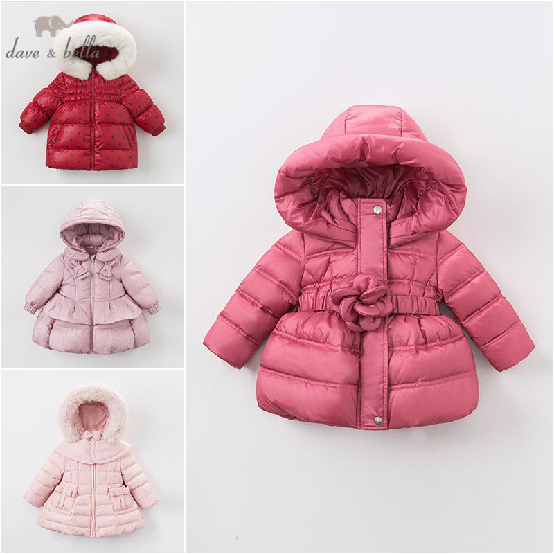 DB4083 dave bella baby girls cute baby hooded padded coat outerwear down jacket