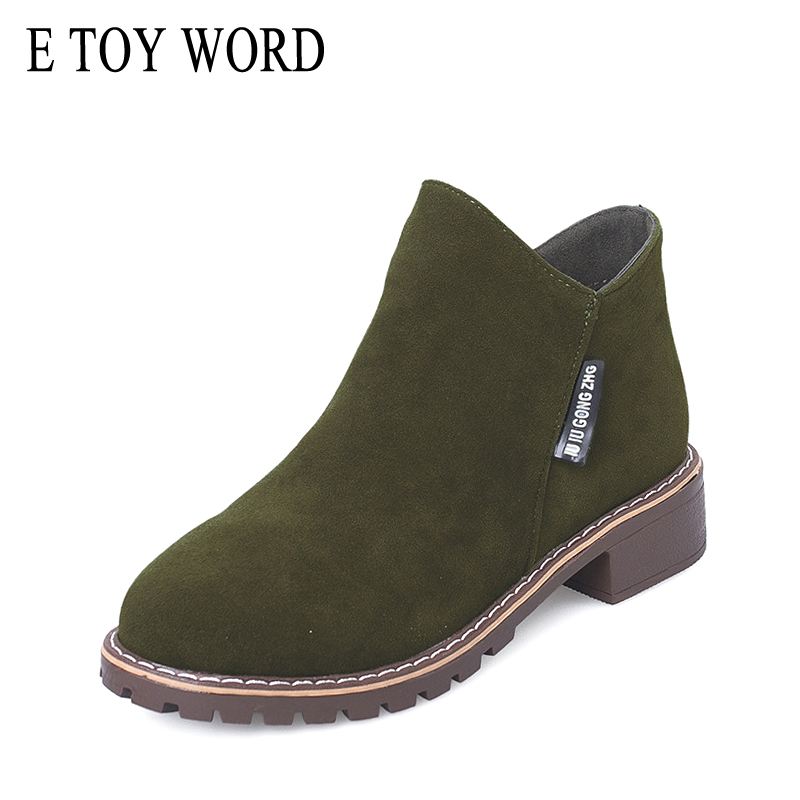 E TOY WORD 2018 otoño botas de mujer cremallera lateral femenino Martin botas clásico y botines zapatos de tacón bajo botas mujer