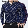 Spring 2017 men's long-sleeved floral shirt tide thin section large size mercerized cotton men's shirt printing TB723