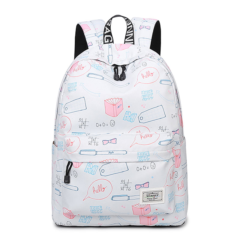Fashion Women Backpack Stationery pattern School  Children Schoolbag Back Pack Leisure Korean Ladies Knapsack Laptop Travel Bags pink print letter school backpack women school bag back pack leisure korean ladies knapsack laptop travel bags for teenage girls