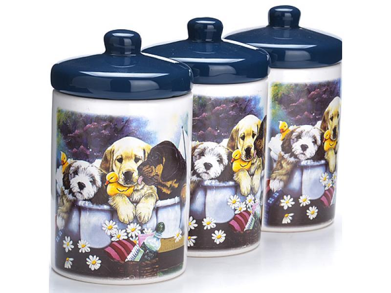 Набор банок для сыпучих продуктов, LORAINE, Собачки, синие крышки стоимость