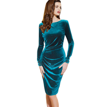 Chicanary Womens Long Sleeve Velvet Wrap Dress Vintage Elegant Solid Knitted Casual Stretch Sheath Party Bodycon