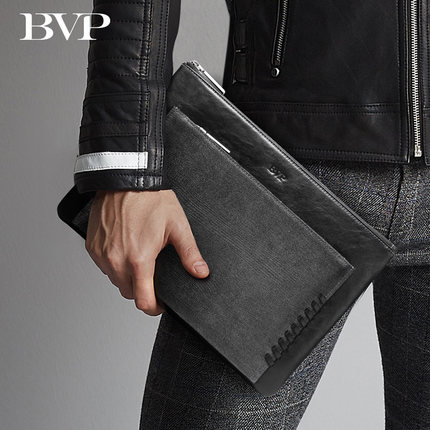 BVP Brand High Quality Business Genuine Leather Man Clutch Cow Leather Slim Handmade Braid Long Wallet