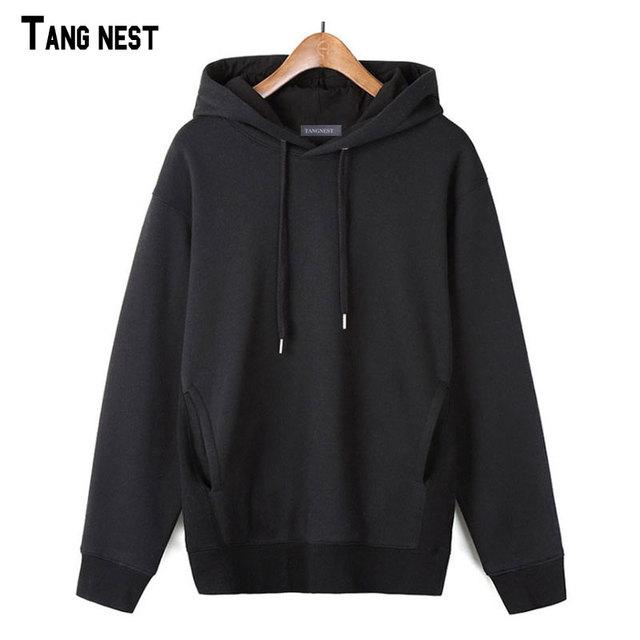 Tangnest hombres interior de polar con capucha 2017 nueva primavera y otoño masculino wide-waisted sólido con capucha casual streetwear hoodie mww1183
