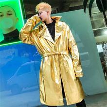 Autumn winter nightclub DJ bright color men long trench windbreaker fashion cloak streetwear steampunk  homme coat
