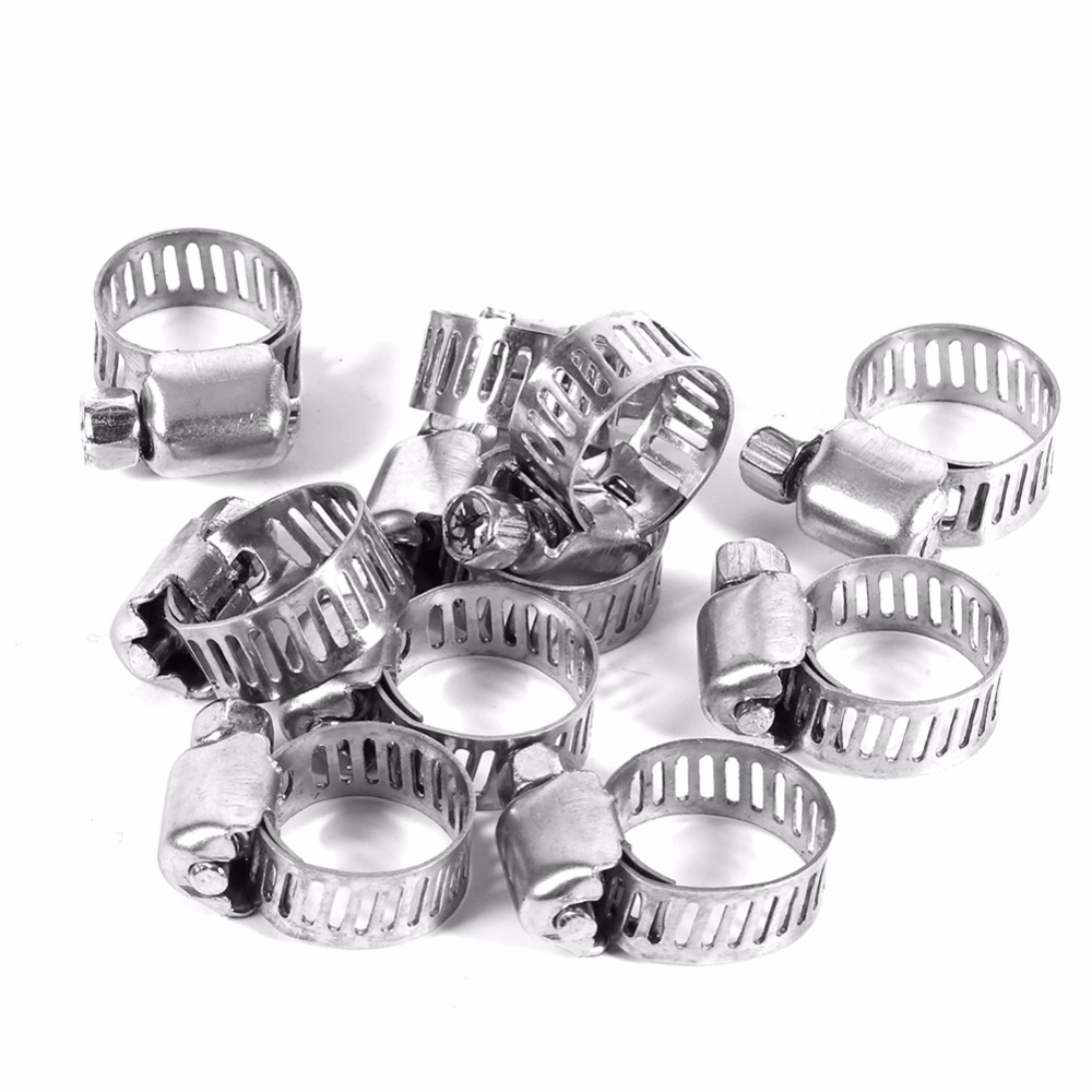 """10 Pcs Stainless Steel Drive Hose Clamps Fuel Line Worm Clips 3//8/""""-1//2/"""" New"""