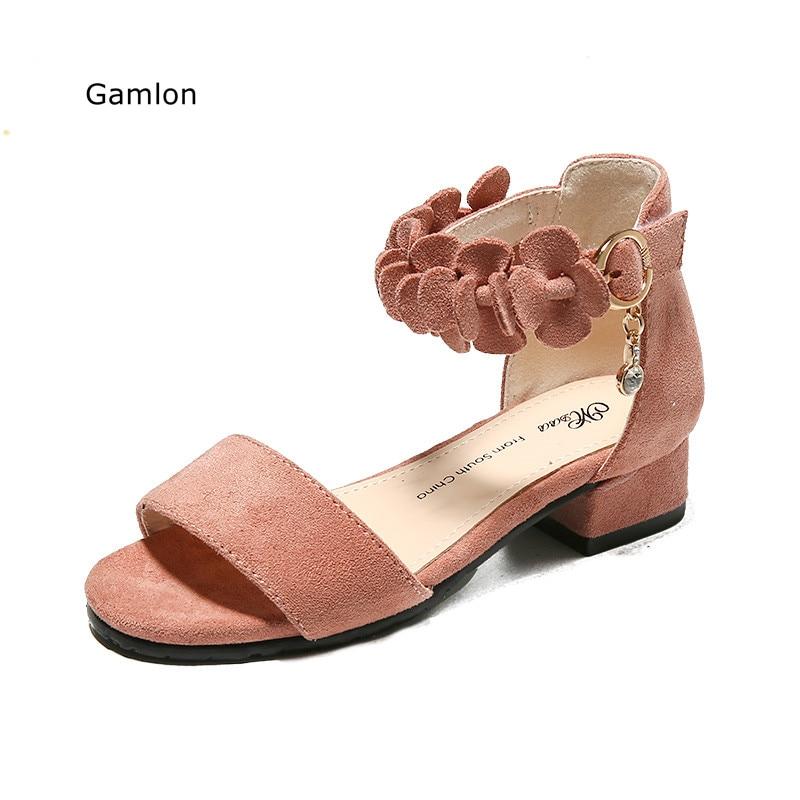 e4c60b28bc0cf Gamlon Filles Faible Talon Sandales Princesse Chaussures 2017 New Summer  Mode Coréenne Enfants de Sandales Étudiants ...