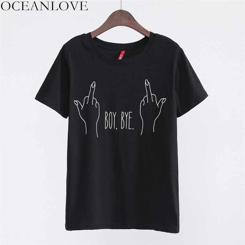 OCEANLOVE All Match Print BOY BYE Fashion T Shirt 2019 Summer Short Sleeve Streetwear Women Tops Casual O-neck T-shirt 11363