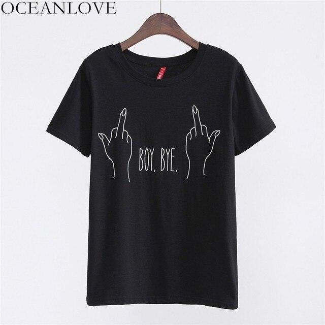 OCEANLOVE Alle Match Print JONGEN BYE Mode T-shirt 2019 Zomer Korte Mouwen Streetwear Vrouwen Tops Casual O-hals T-shirt 11363