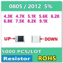 JASNPROSMA  0805 J 5% 5000pcs 4.3K 4.7K 5.1K 5.6K 6.2K 6.8K 7.5K 8.2K 9.1K smd 2012 OHM Resistor