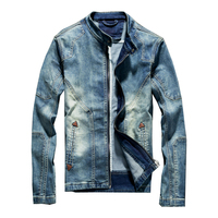 Blue Denim Jean Classic Biker Motorcycle Jacket Stand Collar Retro Slim Fit Men's Jeans Coat Washed High Quality