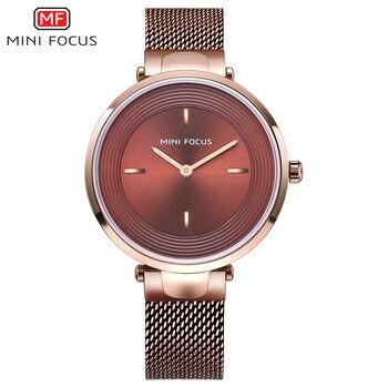 MINI FOCO Moda Mulheres Elegantes Relógios de Quartzo Analógico Relógio Cinta de Malha Design Ultra Fino Top Senhoras Marca De Luxo Relógio de Pulso