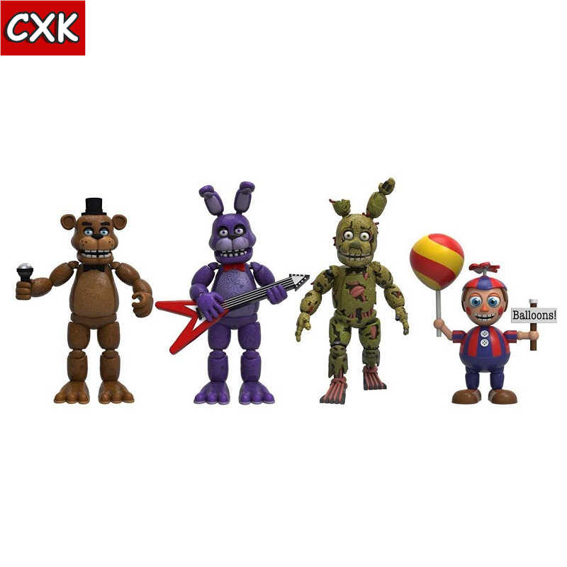 Five Nights At Freddy's Nightmare Freddy Chica Bonnie Funtime Foxy PVC Action Figures Toys 4pcs/set Plush Toy Birthday Gift